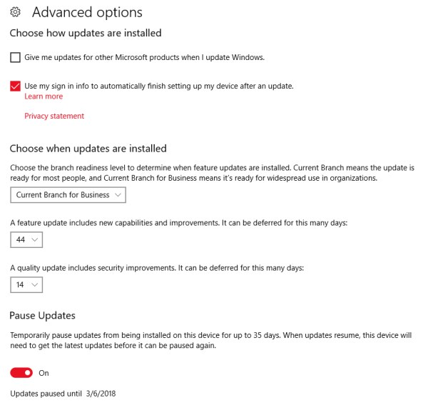 Configuring the Windows 10 patch installation rules