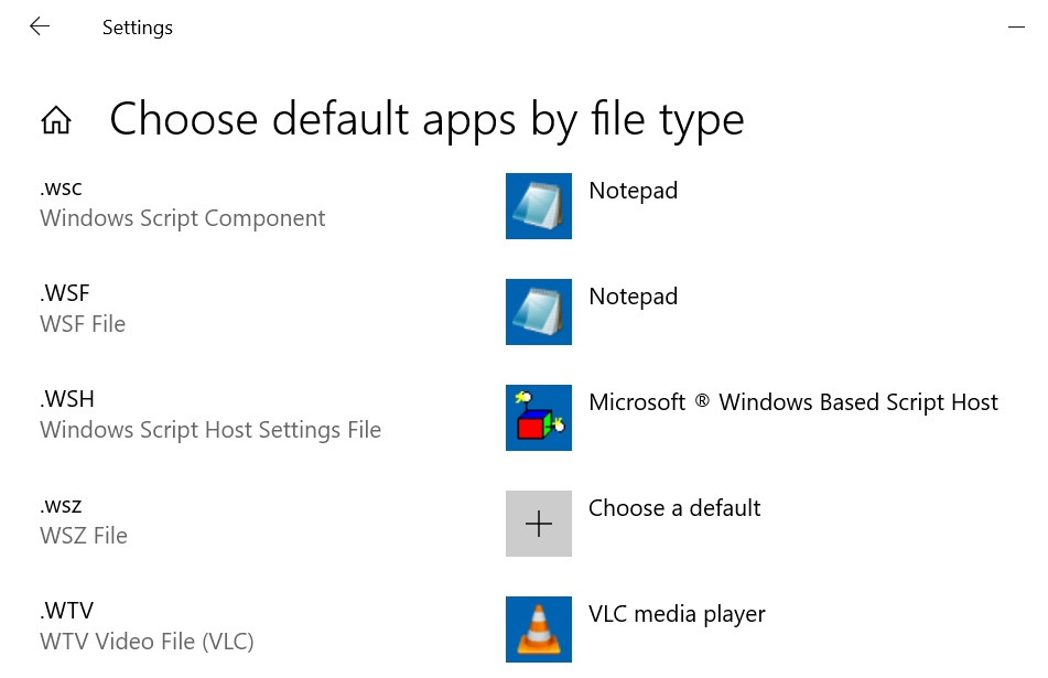 Windows 10 Default apps by file type